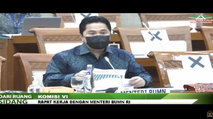 Komisi VI DPR RI Rapat kerja dengan meneteri BUMN dan Bio Farma. (Tangkapan layar TV Parlemen)