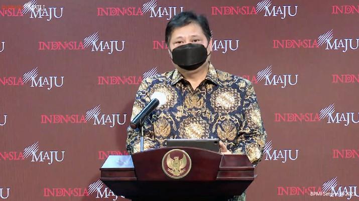 Keterangan pers Menko Perekonomian Airlangga Hartarto di kantor Presiden, (21/1/2021). (Tangkapan layar Setpres RI)