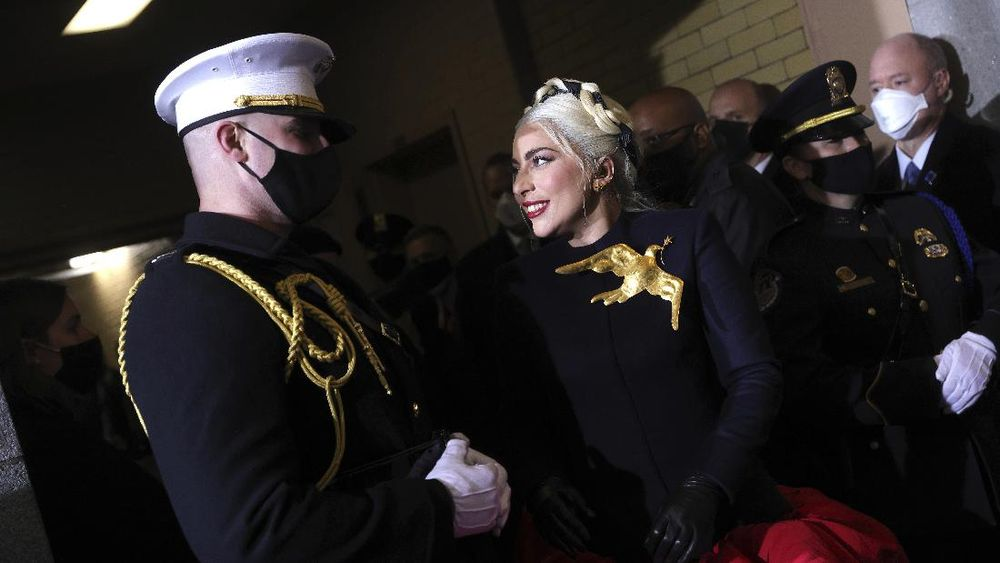 Lady Gaga arrives to sing the National Anthem at the inauguration of U.S. President-elect Joe Biden on the West Front of the U.S. Capitol on Wednesday, Jan. 20, 2021 in Washington. (Win McNamee /Pool Photo via AP)