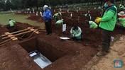Penampakan Pemakaman Jenazah Covid-19 di TPU Bambu Apus