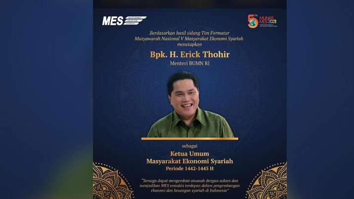 Menteri BUMN Erick Thohir, Ketua Umum Masyarakat Ekonomi Syariah