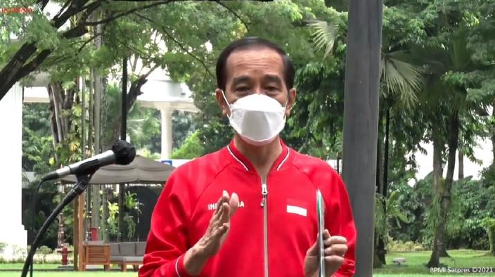 Presiden Joko Widodo usai merima Vaksinasi COVID-19 Tahap Kedua di Istana Kepresidenan Jakarta, Rabu, 27 Januari 2021. (Tangkapan Layar Youtube Sekretariat Presiden)