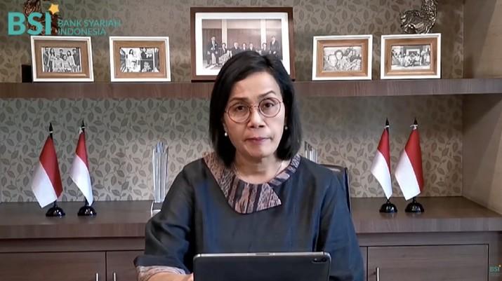 Menteri Keuangan Sri Mulyani saat Peresmian PT Bank Syariah Indonesia Tbk., Istana Negara, 1 Februari 2021. (Tangkapan Layar Youtube Bank Syariah Indonesia)