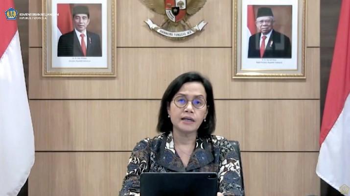 Menteri keuangan Sri Mulyani saat konferensi pers Komite Stabilitas Sistem Keuangan. (tangkapan Layar Youtube Kemenkeu RI)