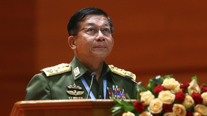 FILE - In this July 11, 2018, file photo, Myanmar's Army Commander-in-Chief Senior Gen. Min Aung Hlaing speaks during the opening ceremony of the third session of the 21st Century Panglong Conference at the Myanmar International Convention Centre in Naypyitaw, Myanmar. A military coup was taking place in Myanmar early Monday, Feb. 1, 2021 and State Counsellor Aung San Suu Kyi was detained under house arrest, reports said, as communications were cut to the capital. (AP Photo/Aung Shine Oo, File)