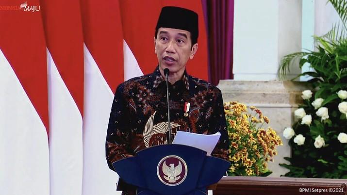Presiden Joko Widodo dalam Peresmian PT Bank Syariah Indonesia Tbk., Istana Negara, 1 Februari 2021. (Tangkapan Layar Youtube Sekretariat Presiden)