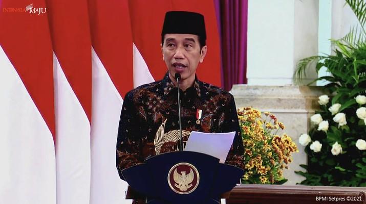 Presiden Joko Widodo saat Peresmian PT Bank Syariah Indonesia Tbk., Istana Negara, 1 Februari 2021. (Tangkapan Layar Youtube Sekretariat Presiden)