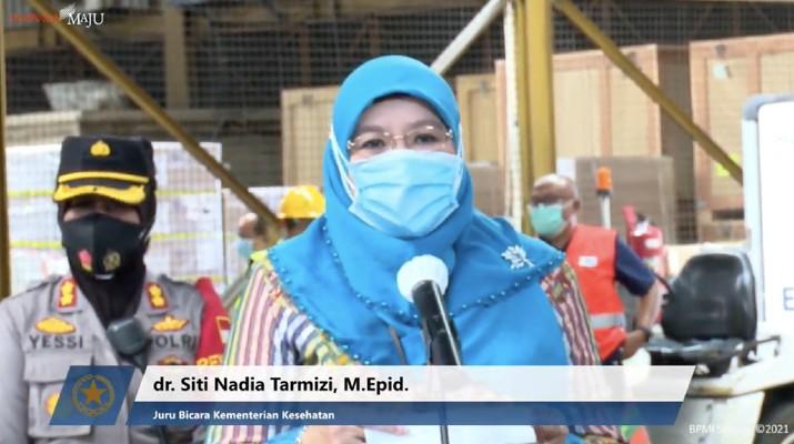 Juru Bicara Vaksin Covid-19 dari Kementerian Kesehatan, Siti Nadia Tarmizi. (Tangkapan Layar Youtube Sekretariat Presiden)