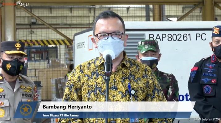 Juru Bicara Vaksin Covid-19 PT Bio Farma, Bambang Heriyanto. (Tangkapan Layar Youtube Sekretariat Presiden)