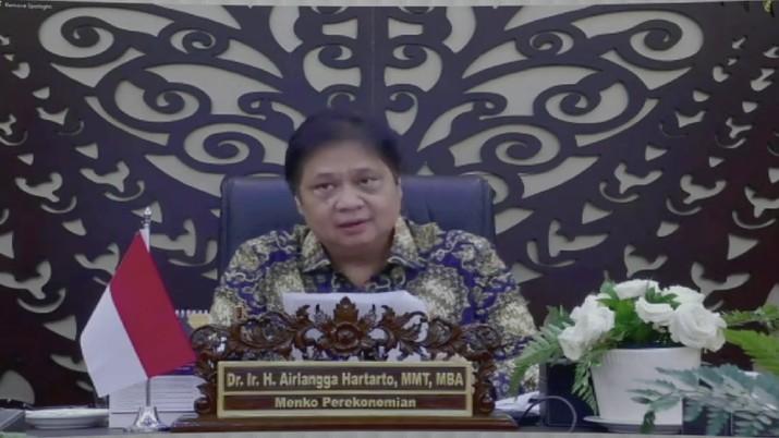 Menko Perekonomian Airlangga Hartarto  dalam acara Mandiri Investment Forum (Tangkapan Layar Youtube Bank Mandiri)