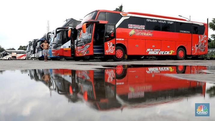 Bus Antar Kota Antar Provinsi menunggu penumpang di Terminal Pondok Cabe, Tangerang Selatan, Kamis (4/2/2021). Badan Pengelola Transportasi Jabodetabek (BPTJ) menyebutkan, selama adanya kebijakan Pembatasan Kegiatan Masyarakat (PPKM) berdampak pada penurunan jumlah penumpang Angkutan Antar Kota Antar Provinsi (AKAP). sementara Ketua Umum Ikatan Pengusaha Otobus Muda Indonesia (IPOMI) mengungkapkan, sekitar 40 persen perusahaan Bus AKAP berpotensi gulung tikar pada tahun ini. Hal itu terlihat dari banyaknya PO Bus yang pembayaran cicilan utangnya tak lancar.   (CNBC Indonesia/ Muhammad Sabki)