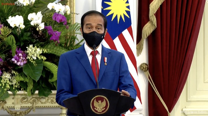 Keterangan Pers Presiden RI Joko Widodo (Jokowi) saat menerima kunjungan kenegaraan Perdana Menteri (PM) Malaysia Tan Sri Muhyiddin Yassi. (Tangkapan Layar Youtube Sekretariat Presiden)