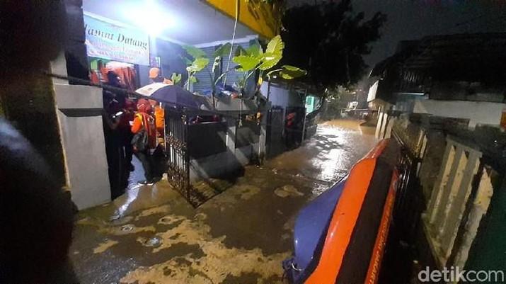 Lokasi banjir di Pejaten Timur, Pasar Minggu, Jakarta Selatan. (Foto: Afzal Nur Iman/detik)
