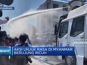 Aksi Unjuk Rasa di Myanmar Berujung Ricuh