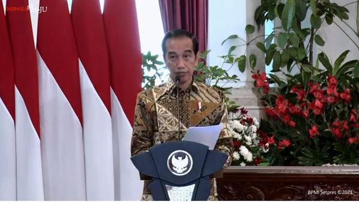 Jokowi di Peresmian Pembukaan Munas VI Asosiasi Pemerintah Kota Seluruh Indonesia, 11 Februari 2021 (Youtube/Sekretariat Presiden)