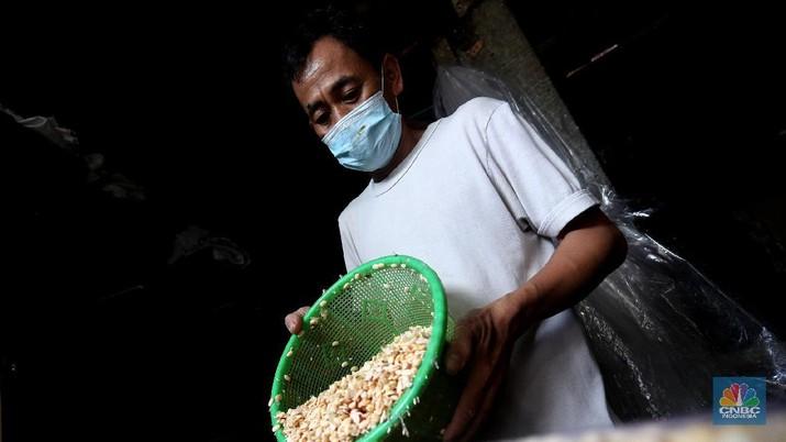 Perajin memproduksi tempe di salah satu pabrik rumahan di Jakarta, Senin (15/2/2021). Harga biji kedelai terus menguat di tengah penurunan ekspor dari Amerika Serikat dan sentimen proyeksi kenaikan pasokan dari negara produsen. (CNBC Indonesia/Tri Susilo)