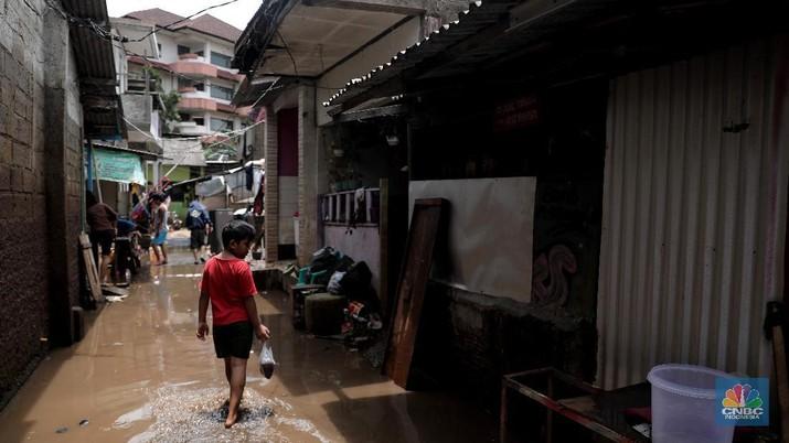 Pemukiman di Sekitar Kali Krukut (CNBC Indonesia/Muhammad Sabki)