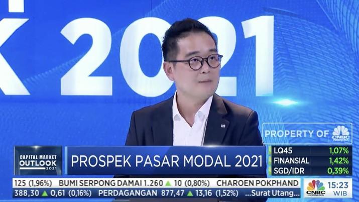 CEO Mirae Asset Sekuritas Tae Yong Shim dalam acara Capital Market Outlook 2021 dengan tema