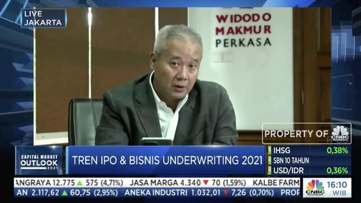 Komisaris Utama Widodo Makmur Unggas Tumiyana dalam acara Capital Market Outlook 2021 dengan tema