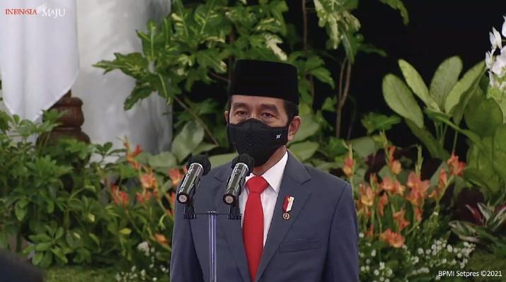 Pengucapan Sumpah/Janji Keanggotaan Ombudsman Republik Indonesia Masa Jabatan Tahun 2021-2026. (Tangkapan Layar Youtube Sekretariat Presiden)