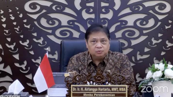 Menteri Koordinator (Menko) Bidang Perekonomian, Airlangga Hartarto dalam Acara Konferensi Pers