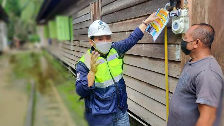 PGN alirkan gas ke jaringan gas rumah tangga di Kutai kartanegara. (Dok. PGN)