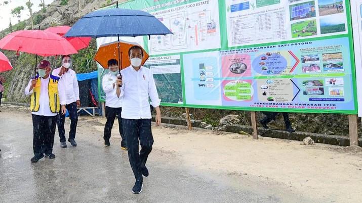 Presiden Joko Widodo melakukan peninjauan terhadap pembangunan lumbung pangan baru yang berada di Kabupaten Sumba Tengah. (Biro Pers Sekretariat Presiden/Muchlis Jr)