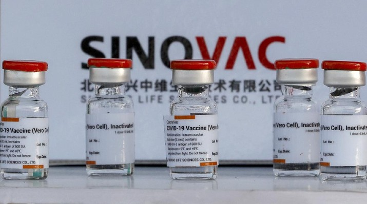 Samples of Sinovac vaccine are displayed at Suvarnabhumi airport in Bangkok, Thailand, Wednesday, Feb. 24, 2021, aheads of the arrival of first shipments of 200,000 doses of the Sinovac vaccine and 117,000 doses of the AstraZeneca vaccine on Feb. 24. (AP Photo/Sakchai Lalit)