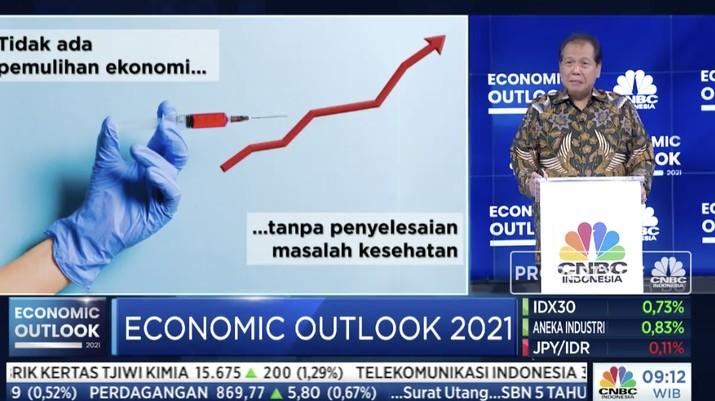 Chairul Tanjung Founder & Chairman CT Corp dalam acara CNBC Indonesia Economic Outlook dengan tema