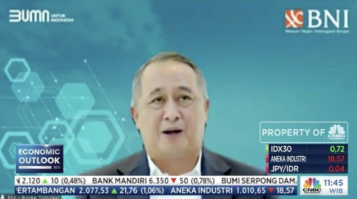 Direktur Utama Bank BNI, Royke Tumilaar dalam acara CNBC Indonesia Economic Outlook dengan tema