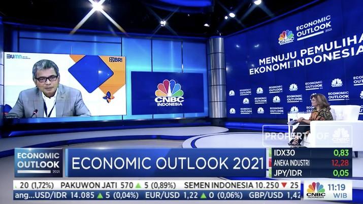Direktur Utama Bank BRI, Sunarso dalam acara CNBC Indonesia Economic Outlook dengan tema