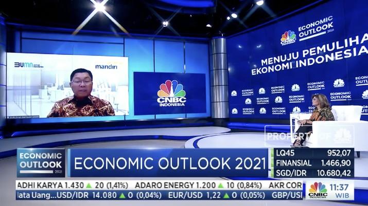Direktur Utama Bank Mandiri, Darmawan Junaidi dalam acara CNBC Indonesia Economic Outlook dengan tema