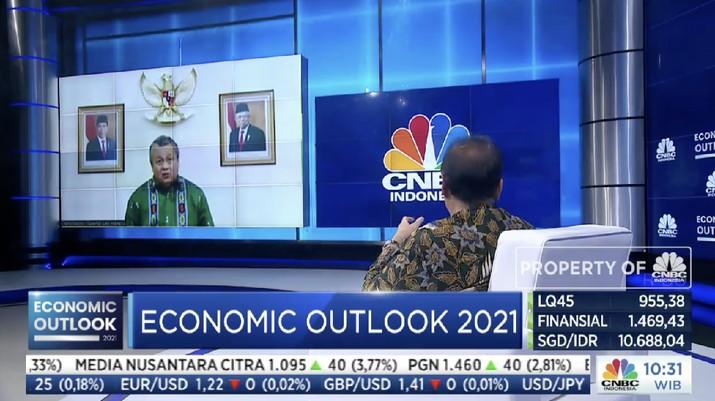Gubernur Bank Indonesia, Perry Warjiyo dalam acara CNBC Indonesia Economic Outlook dengan tema