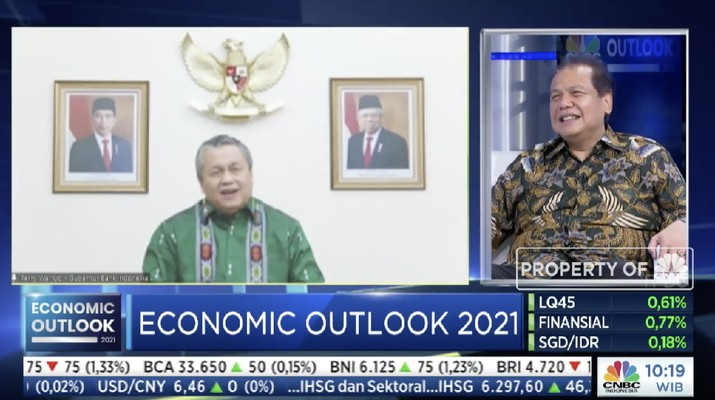 Gubernur Bank Indonesia, Perry Warjiyo dalam acara CNBC Indonesia Economic Outlook dengan tema