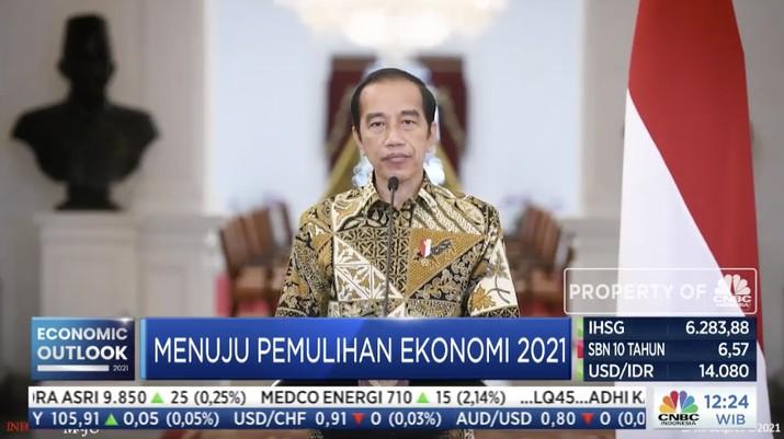 Jokowi dalam acara CNBC Indonesia Economic Outlook dengan tema