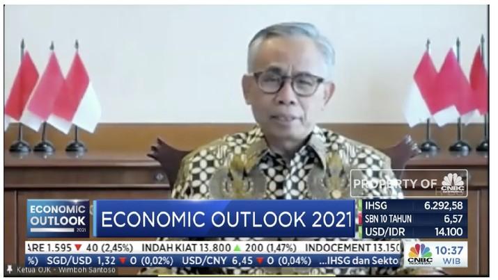 Ketua Dewan Komisioner Otoritas Jasa keuangan, Wimboh Santoso dalam acara CNBC Indonesia Economic Outlook 2021. (Tangkapan layar CNBC TV)