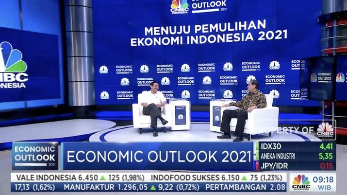 Luhut Binsar Pandjaitan dalam acara CNBC Indonesia Economic Outlook dengan tema