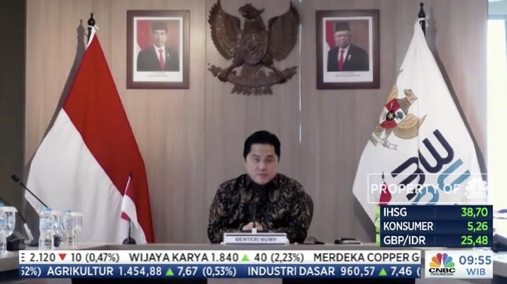 Menteri BUMN Erick Thohir, dalam acara CNBC Indonesia Economic Outlook dengan tema