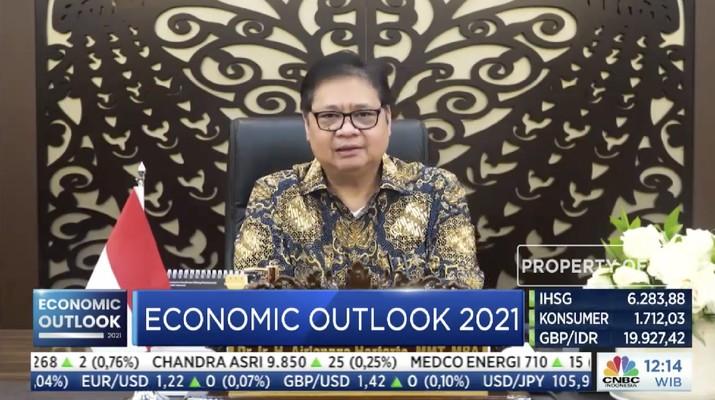 Menteri Koordinator Bidang Perekonomian, Airlangga Hartarto dalam acara CNBC Indonesia Economic Outlook dengan tema