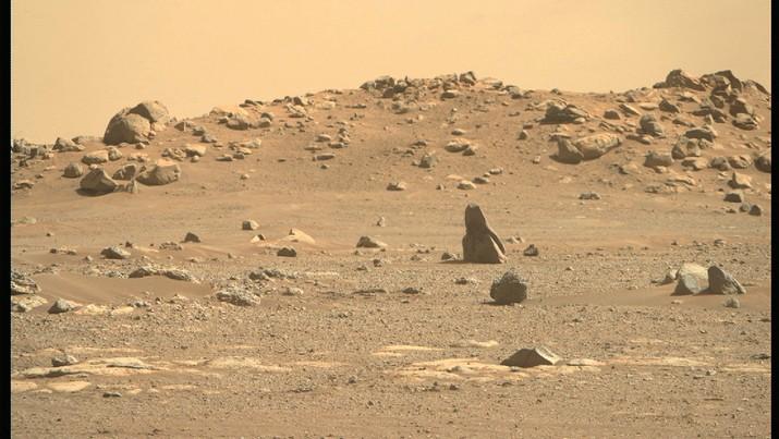 Penjelajah Mars Perseverance NASA memperoleh gambar ini menggunakan kamera Right Mastcam-Z. Mastcam-Z adalah sepasang kamera yang terletak tinggi di tiang penjelajah. Gambar ini diperoleh pada 24 Februari 2021 (Sol 4) pada waktu matahari rata-rata lokal 14:38:31. (NASA / JPL-Caltech / ASU)