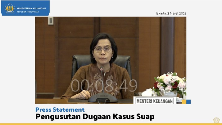 Press statement pengusutan dugaan kasus suap, Rabu (3/3/2021). (Tangkapan layar Kementerian Keuangan)
