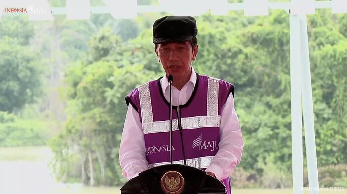 Jokowi resmikan Bendungan Sindang Heula, Banten, (4/3/2021). (Tangkapan layar Youtube Setpres RI)