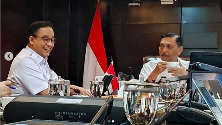 Pertemuan Luhut Pandjaitan dan Anies Baswedan di kantor Kemenko Kemaritiman dan Investasi, Jakarta, Rabu (10/3/2021).