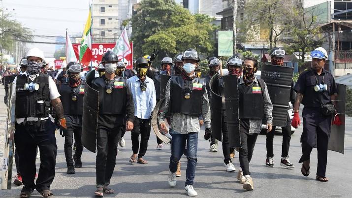 Akisi demo di Myanmar terus berlanjut. AP/