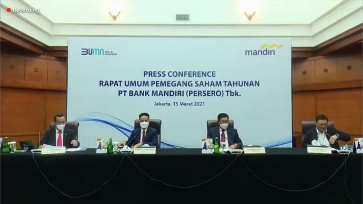 Rapat Umum Pemegang Saham Tahunan PT. Bank Mandiri (Persero). (Tangkapan Layar)