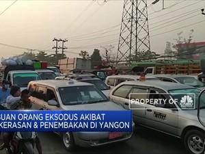 Ribuan Orang Eksodus Akibat Kekerasan & Penembakan di Yangon