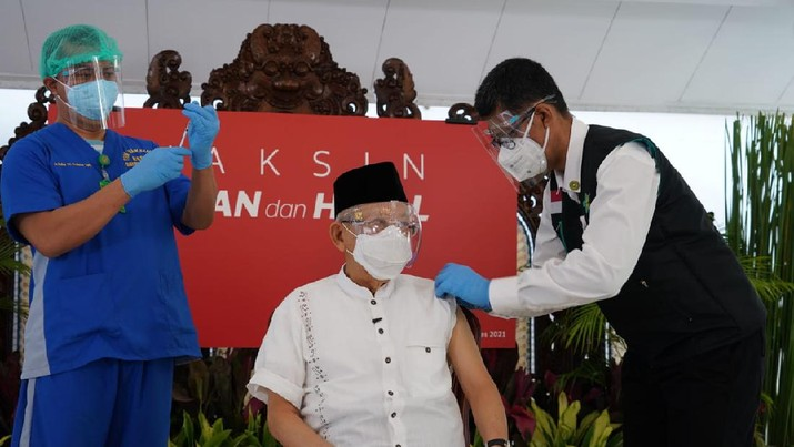 Wakil Presiden Ma'ruf Amin menerima vaksin Covid-19 dosis kedua (Dok. Setwapres)
