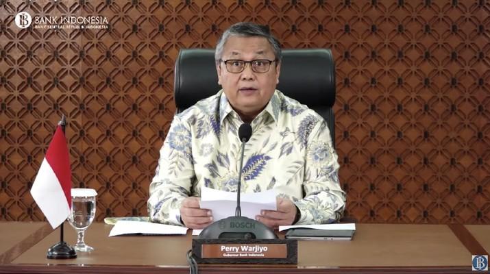 Gubernur Bank Indonesia Perry Warjiyo Mengumumkan Hasil Rapat Dewan Gubernur Bank Indonesia Bulan Maret 2021. (Tangkapan Layar Youtube Bank Indonesia)