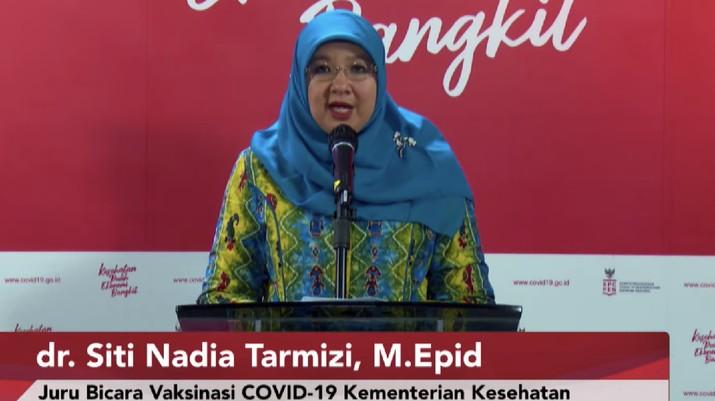 Juru Bicara Vaksinasi COVID-19 dari Kementerian Kesehatan, dr. Siti Nadia Tarmizi, M.Epid, memberikan keterangan pers mengenai perkembangan terkini terkait vaksin COVID-19 dari AstraZeneca. (Tangkapan Layar Youtube Sekretariat Presiden)
