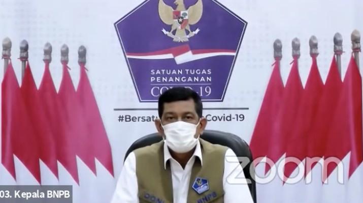 Kepala Badan Nasional Penanggulangan Bencana (BNPB) Doni Monardo saat Konferensi Pers Perpanjangan dan Perluasan Pemberlakuan Pembatasan Kegiatan Masyarakat (PPKM) Mikro. (Tangkapan Layar)
